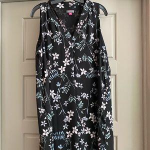 Vince Camuto black floral print dress size medium